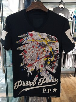 Philipp Plein SS2017 Mens T-Shirt Indian Colour Skull Black