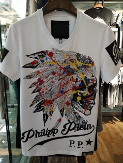 Philipp Plein SS2017 Mens T-Shirt Indian Colour Skull White