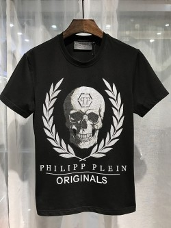 Philipp Plein SS2017 Mens T-Shirt Leaves Skull Black