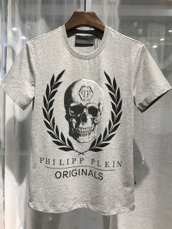 Philipp Plein SS2017 Mens T-Shirt Leaves Skull Grey