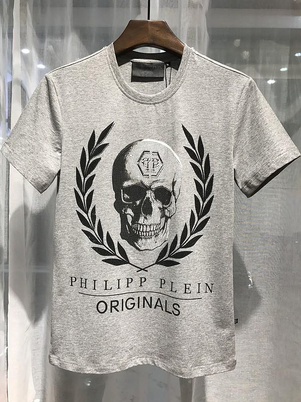 Philipp Plein SS2017 Mens T-Shirt Leaves Skull Grey