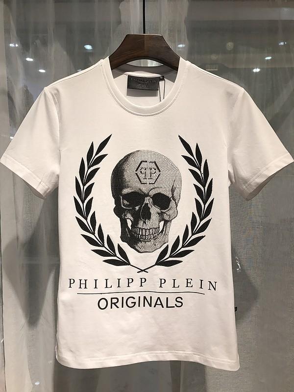 Philipp Plein SS2017 Mens T-Shirt Leaves Skull White