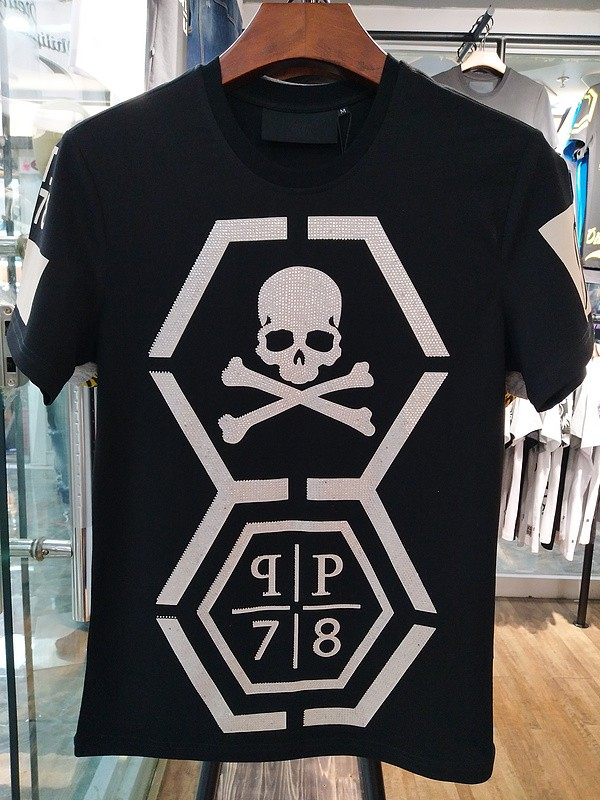 Philipp Plein SS2017 Mens T-Shirt Lurex Borders Skull Black