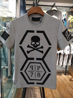 Philipp Plein SS2017 Mens T-Shirt Lurex Borders Skull Grey