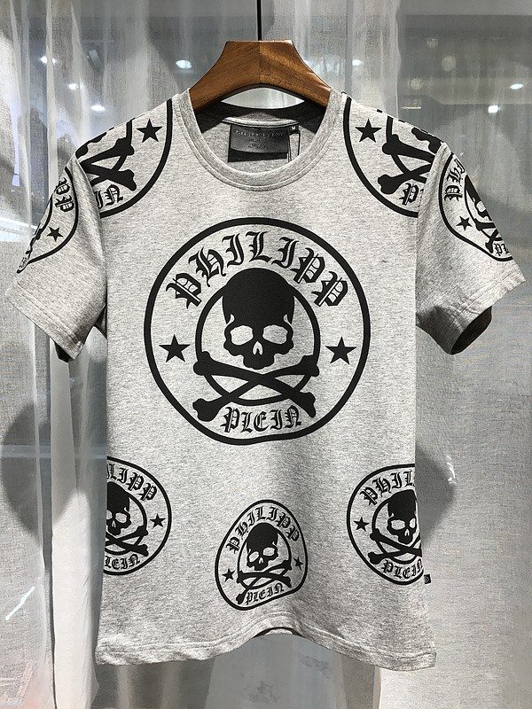 Philipp Plein SS2017 Mens T-Shirt Plum Skull Grey