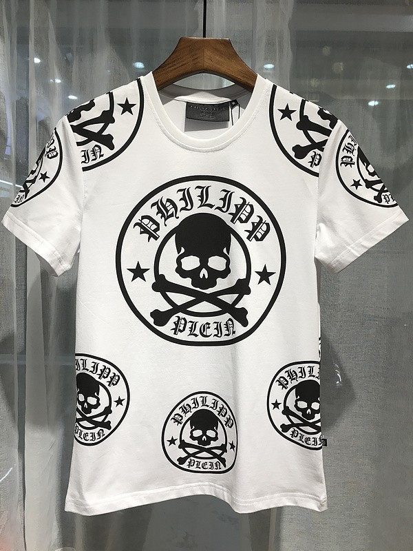 Philipp Plein SS2017 Mens T-Shirt Plum Skull White