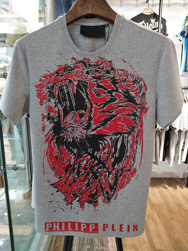 Philipp Plein SS2017 Mens T-Shirt Roar Tiger Head Grey