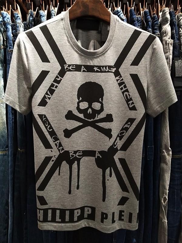 Philipp Plein SS2017 Mens T-Shirt Skull Print Grey