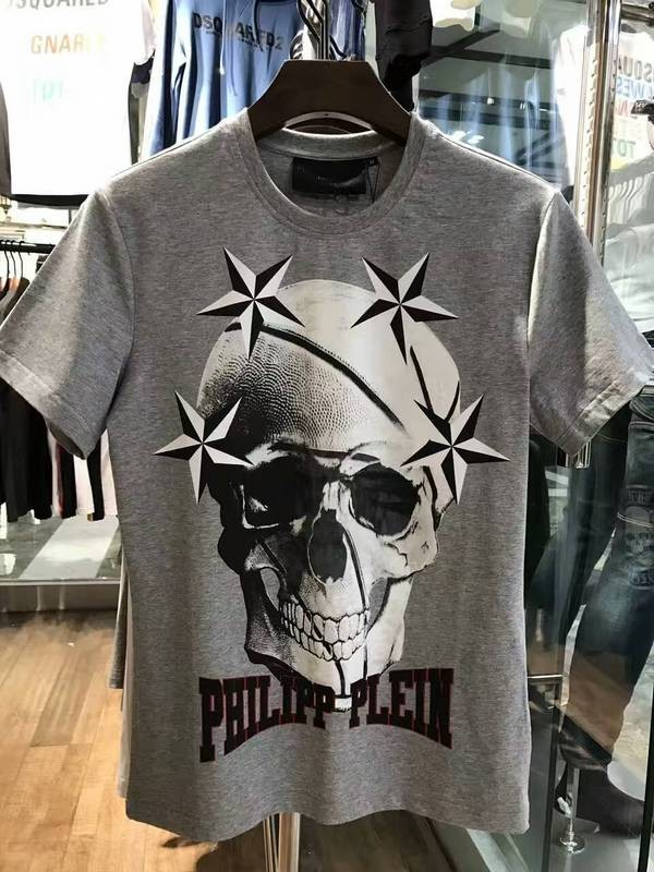 Philipp Plein SS2017 Mens T-Shirt Starry Skull Ceil Grey
