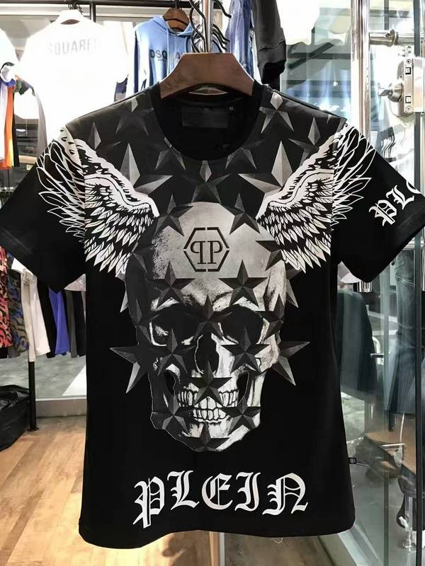 Philipp Plein SS2017 Mens T-Shirt Starry Skull Wings Black