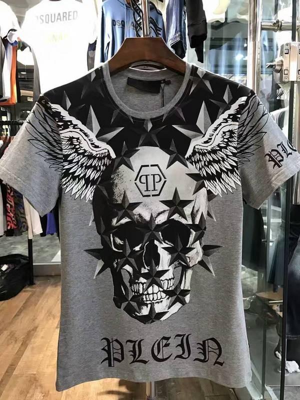 Philipp Plein SS2017 Mens T-Shirt Starry Skull Wings Grey