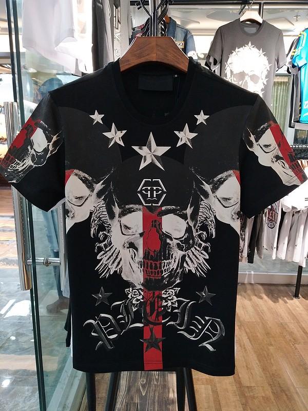 Philipp Plein SS2017 Mens T-Shirt Stars Skull Black