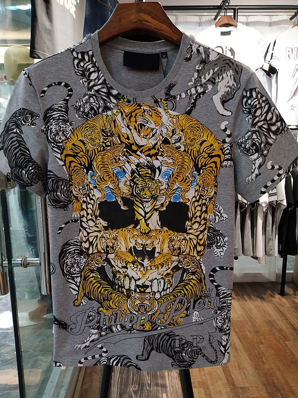 Philipp Plein SS2017 Mens T-Shirt Tigers Skull Grey