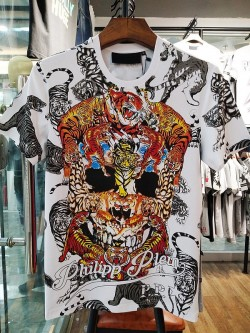 Philipp Plein SS2017 Mens T-Shirt Tigers Skull White