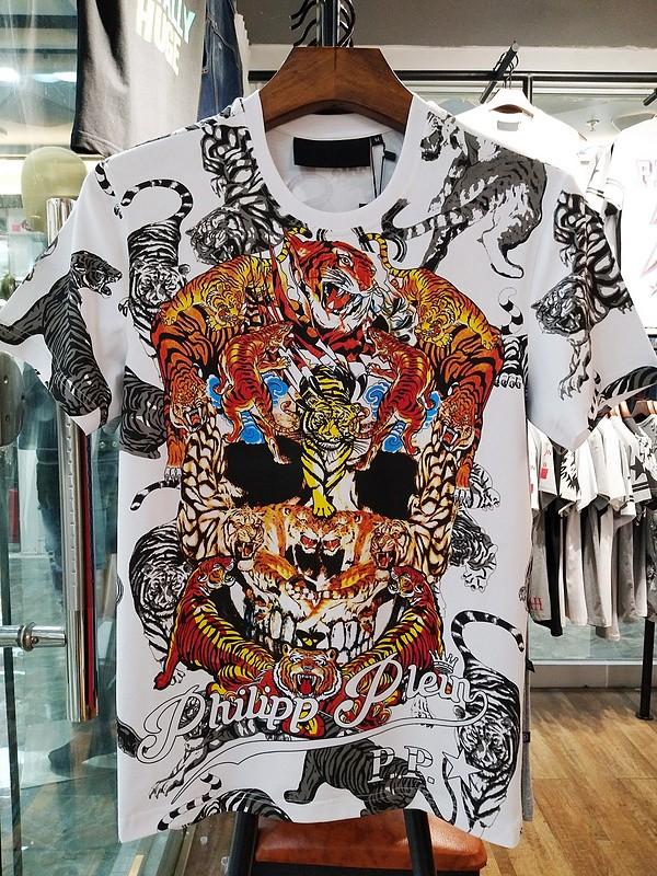 Philipp Plein SS2017 Mens T-Shirt Tigers Skull White