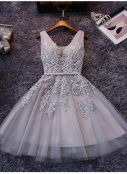 Puffy Short Elegant V-Neck Appliques Silver Lace Homecoming Dresses_Homecoming Dresses_Special O ...