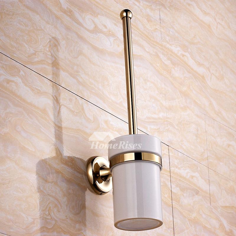 Golden Polished Brass Toilet Brush Holder