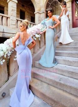 Bowknot Fairy Open-Back Mermaid Lace-Appliques Bridesmaid Dresses_Bridesmaids Dresses_Wedding Pa ...