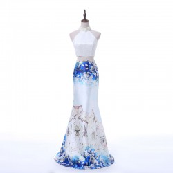 Elegant Beaded High Halter Neck Two Piece Stain Printed Mermaid Prom Dress 2018 [PS1701] – ...