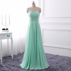 Elegant Charming Mint Green Beading Pleated Cutout Back Long Evening Prom Dress [PS1704] – ...