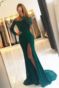 Elegant Side-Slit Off-the-Shoulder Green Long-Sleeves Lace Prom Dresses_Prom Dresses_Special Occ ...