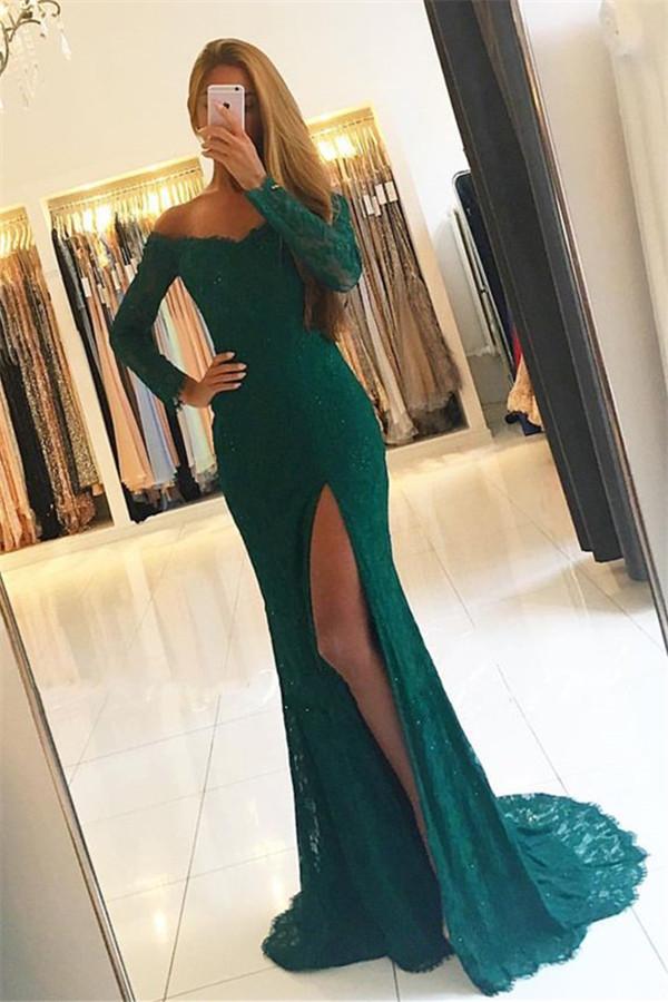 Elegant Side-Slit Off-the-Shoulder Green Long-Sleeves Lace Prom Dresses_Prom Dresses_Special Occ ...