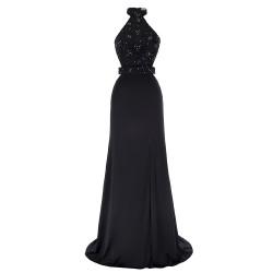 Fashion High Halter Neck Beaded Lace Appliques Black Prom Evening Dress [ES1706] – $136.99 :