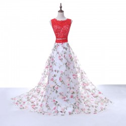 Hot Sale Red Lace Scoop Neck Keyhole Back Floral Printed Two Piece Prom Dress 2017 [PS1702] R ...