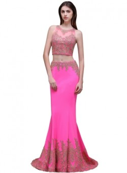 Lace Appliques Floor-Length Zipper Mermaid Sleeveless Sexy Evening Gown – Ameliedresses