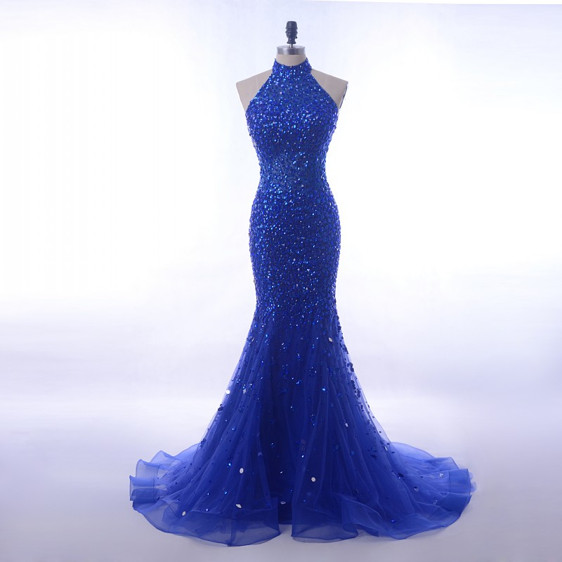 Luxury Sequin Crystals Long 2018 Royal Blue Halter High Neck Mermaid Prom Dress [PS1707] – ...