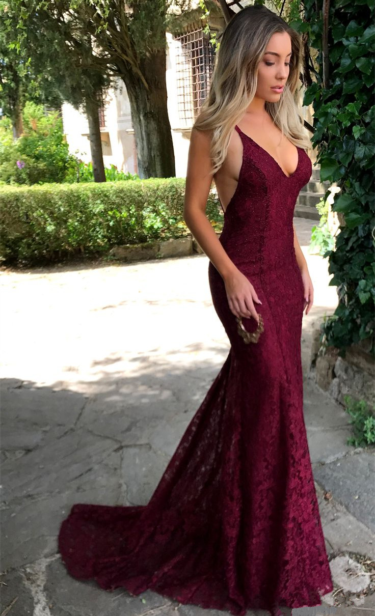 Sexy V-neck Burgundy Lace Formal Evening Dresses 2018 Backless Mermaid Prom Dress BA7196_Evening ...