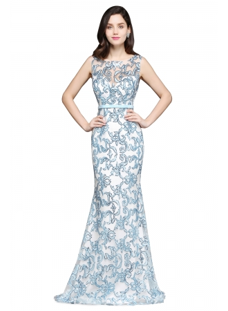 Sleeveless Stunning Lace Mermaid Sweep-Train Sash Prom Dress – Ameliedresses