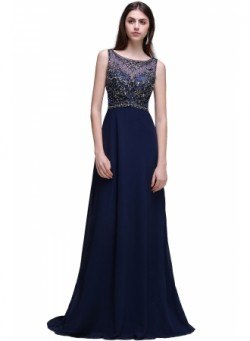 Vintage Open-Back Rhinestones Dark-Navy Long Chiffon Prom Dresses – Ameliedresses
