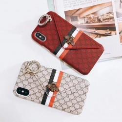 iPhone X ケースgucci 指リンク アイフォン8 plusカバー カード入れ グッチケース かわいい iphone7レ ...