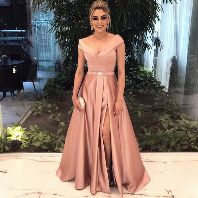 A-Line Off The Shoulder Long Evening Dress Pink Split Elegant V-neck Formal Dresses BA6651_Eveni ...