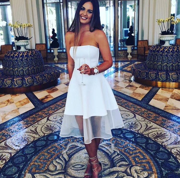 A-line White Sleeveless Knee Length 2017 Newest Strapless Cheap Homecoming Dress BA3855_2018 Sho ...