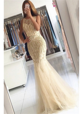 Beaded Crystals Mermaid Tulle Evening Dress Champagne 2017 Gorgeous Prom Dress BA6133_Evening Dr ...