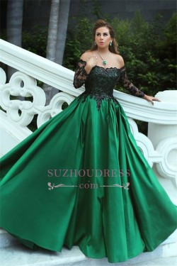 Black-Appliques Off-the-Shoulder Green Elegant Long Sleeves A-Line Prom Dress_Prom Dresses_2018  ...