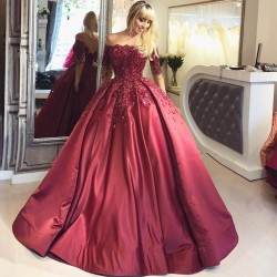 2018 Burgundy Ball Appliques Crystal Off-the-Shoulder Long-Sleeves Prom Dresses BA6695_Prom Dres ...