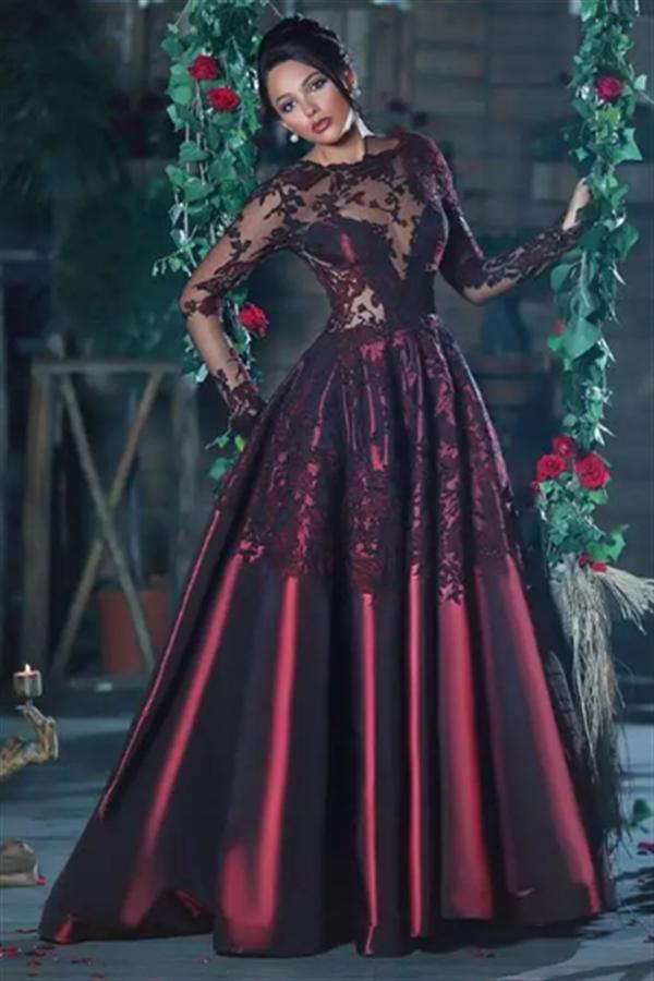 Burgundy Long Sleeve Evening Dresses 2017 Lace Applique Sheer Back Formal Prom Dresses_Evening D ...