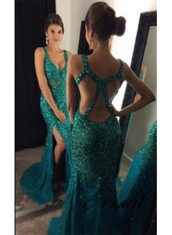 Crystals 2018 Formal Evening Dresses Mermaid Open Back Crystals Sexy Prom Dress BA7172_Prom Dres ...