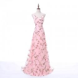 Fashion Long Straps Deep V-Neck 3D Floral Print Blush Pink Long Prom Dress [PS1718] – $128 ...