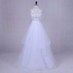 Fashion Two Piece White Beading Top Halter Neck Tulle Long Graduation Prom Dress [PS1716] – ...
