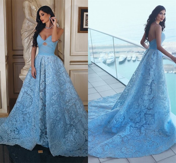 2018 Glamorous Sweetheart Lace Formal Evening Dresses 2018 A-line Ruffles Blue Prom Dress_Prom D ...