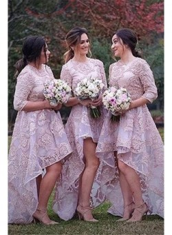 Half Sleeves Lace High Front Low Back Bridesmaid Dresses 2017 Cheap Wedding Party Dress_Bridesma ...