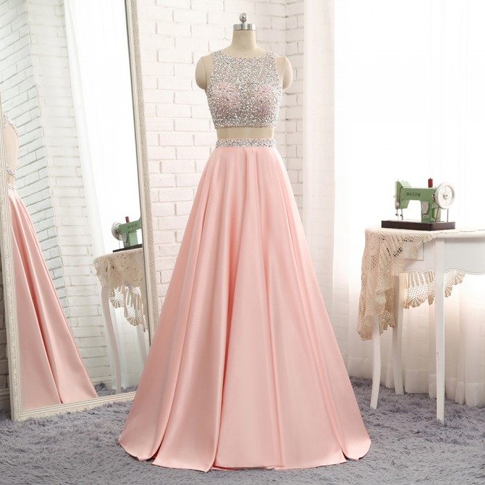 Hot Trendy Long Two 2Piece Beaded Cutout Back Satin Evening Graduation Prom Dress [PS1720] ̵ ...
