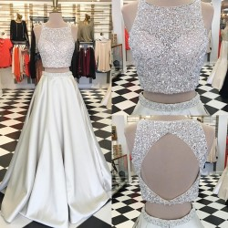 Jewel Crystals Two Piece 2018 Formal Evening Dress A-line Sleeveless Gorgeous Prom Dress BA7539_ ...