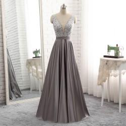 2018 Long Deep V Neck Sheer Insert Beaded Bodice Grey Stain Evening Prom Dress [PS1719] –  ...