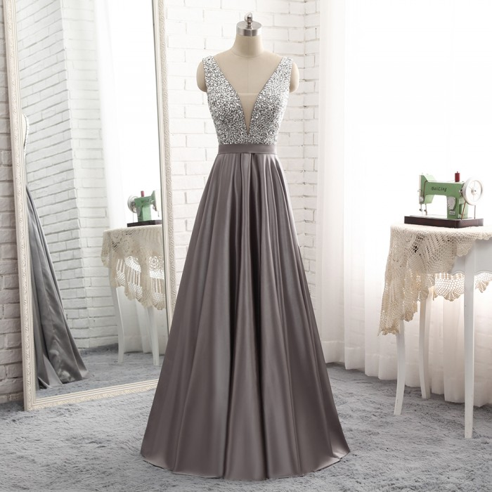 2018 Long Deep V Neck Sheer Insert Beaded Bodice Grey Stain Evening Prom Dress [PS1719] –  ...