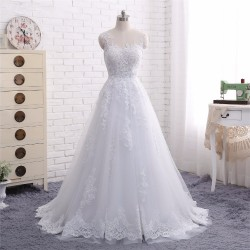 2018 New Arrival A Line Scoop Neck Lace Appliques Sheer Bridal Wedding Dress [WS1711] – $1 ...